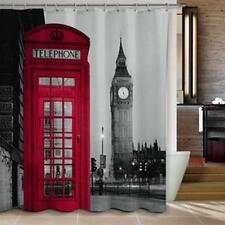 London Scene Red Phone Box Big Ben Shower Curtain Polyester Hooks waterproof