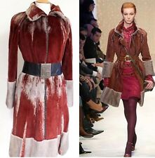 Fendi Red Grey Sheared Mink Fur A/W 2005 Collection Coat 42 uk 10
