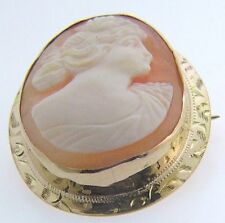 ESTATE 10 KARAT YELLOW GOLD CAMEO BROOCH / PIN APC-33-1 C1 VINTAGE