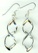 925 Sterling Silver Infinity Spiral Figure of 8 Drop Earrings Length 46mm 1.3/4""