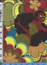 Fabric Henry Soul Sisters African American Fashionistas 70s retro POOL BTY