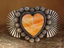 Navajo Indian Jewelry Sterling Silver Spiny Oyster Shell Heart Bracelet! by Leon