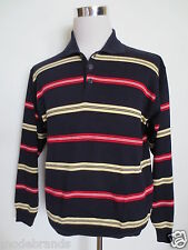 Button Pullover ATWARDSON Polo Kragen 48 ca M Streifen dunkelblau rot/I1