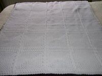 Baby Blanket Shawl White 41 inches x 36 inches