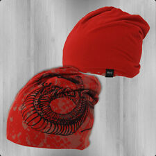 Yakuza Wende Mütze YB 7205 Dead Snake Beanie rot Haube Wintermütze Hat