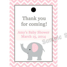 24 Personalized Baby Shower Favor Tags - Elephant - PINK