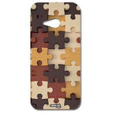 CUSTODIA COVER CASE FANTASIA PUZZLE STAMPA  LEGNO PER HTC ONE M7