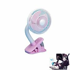 Baby Safety Clip On Stroller Fan Portable Fan For Infant Cooler Outdoor Pink