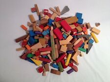 Assorted Lot of Childrens Wooden Building Blocks with Plastic Storage Tote (A33)