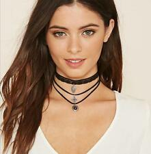 STUNNING JEWELLED MULTI-LAYER LACE FAUX SUEDE CHOKER NECKLACE - UK SELLER
