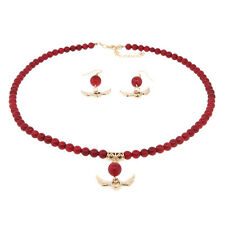 "18"" Round 6mm Red Coral Gold Heart and Angel Wings Necklace and Earrings Set"