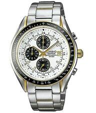 CASIO EF-503SG-7A Analog White Dial Blue 3subdial Stainless Steel Bracelet