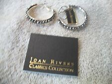 JOAN RIVERS Big Fun Silvertone Hoop Earrings Pierced w Gray Faceted Glass Beads