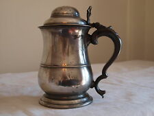 ANTIQUE ENGLISH PEWTER LIDDED TANKARD, OLD ENGLISH WINE STANDARD QUART, C1780.