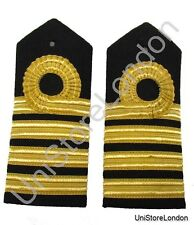 Epaulette Captain Curved Hard  1 Curl, 3 Bars Gold, Navel  R177