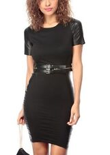 New Womens Black Faux Leather Panels Contrast Bodycon Cocktail Dress S, M & L