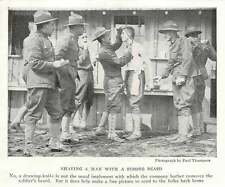 1917 U.s. Army Company Barber Shaving A Man With A Draw Knife