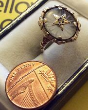 Unusual Ladies Early Solid 10ct Gold American Masonic Ring