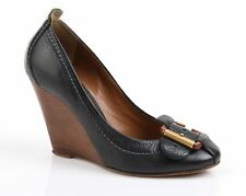 CHLOE BLACK LEATHER BUCKLE DETAIL WEDGE PUMPS HEELS SZ 38.5