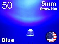50pcs 5mm Blue Straw Hat LED - Wide Angle Water Clear Light Emitting Diode