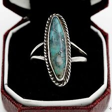 Antique Vintage Sterling Silver Native Navajo Blue Warrior Turquoise Ring Sz 8