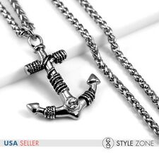Men's Stainless Steel Gothic Rope Anchor Pendant Braid Link Necklace Pirate P35
