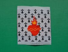 1 écusson insigne tissu patch religieux Sacré Cœur de Jésus Hermine Bretonne BZH