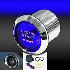 Blue Car Round Ignition Switch Push Botton Engine Starter 12V Wired Controller
