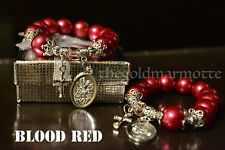Elegant Synthetic Pearl Rosary Bracelet (Blood Red)