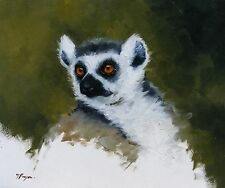 Original Oil painting - wildlife art - lemur portrait - by j payne