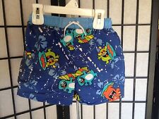 Boys Baby Buns Size 24 Months Blue Multi-Color Drawstring Monster Swimwear NWT