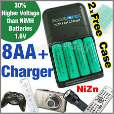 8 x AA 2A NiZn 2800mWh 1.6V Rechargeable Battery + Fast Charger + 2 Case