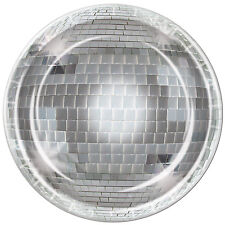 """8 ct 70's DISCO Dance Mirrored Ball  9"""" Paper Plates Birthday Party Tableware"""