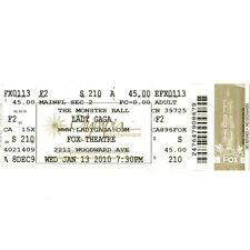 LADY GAGA Concert Ticket Full  Stub DETROIT 1/13/10 FOX THEATRE JOE LOUIS ARENA
