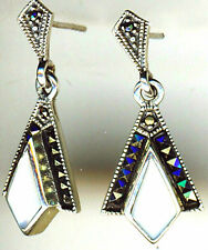925 Sterling silver White Mother of Pearl & Marcasite Drop / Dangle Earrings