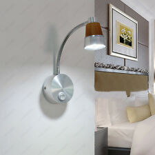 Flexible Pipe 3W LED Wall Fixture Lamp Picture Bedside Light ON/OFF Button Hotel