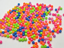 "1000 Mixed Matte Neon Color Acrylic Round Beads 4mm(0.16"")"