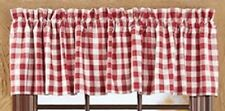 Country Primitive Buffalo Red Check Valance French Cottage Cabin Farmhouse