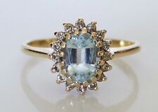Beautiful 9ct Gold Sky Blue Topaz & 0.12ct Diamond Cluster Ring Size N