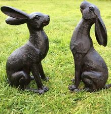 LARGE GARDEN HARE ORNAMENT SCULPTURE MOONGAZING HARE BRAND NEW BRONZE HARE