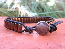 Mens Distressed Brown Leather Copper Magnetic Bracelet with Buffalo button