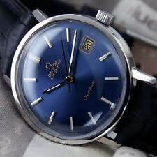 VINTAGE MEN'S OMEGA GENEVE AUTOMATIC CAL 1012 DATE ANALOG DRESS LEATHER WATCH