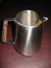 VINTAGE ROGERS INSILCO 18-8 STAINLESS STEEL PITCHER--HANDLE WOOD & FLORAL DETAIL