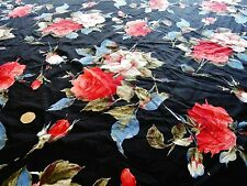 STRETCH COTTON PRINT-LARGE ROSE-BLACK/RED/BLUE/IVORT-DRESS FABRIC-FREE P&P
