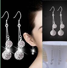 Damen 925 Silber Doppel Shamballa  Ohrringe Ohrschmuck Kristall Ohrhänger