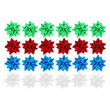 Pack of 24 Plastic Christmas Present Gift Bows - 4cm (White, Blue, Red, Green)