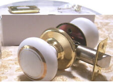 Porcelain Ceramic Passage Door Knob Set Double Gold Rings for Modern Doors