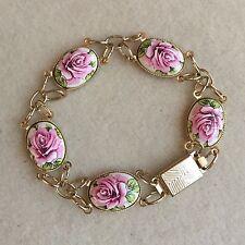 Vintage GOLD Tone PINK Roses WHITE Ceramic PORCELAIN Oval CABOCHON Bracelet