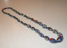 VINTAGE ART DECO 1930s CHUNKY  VENETIAN MILLEFIORI GLASS BEAD FLAPPER NECKLACE