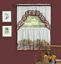 Farmers Market- TIER & SWAG SET- Complete Kitchen Curtain, Flowers and fruits